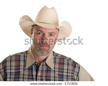 Stock photo of a cowboy isolated on white. - stock photo