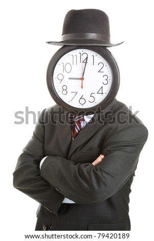 Stock photo of anonymous businessman with a clock for a face, standing with his arms folded.  Isolated on white. - stock photo