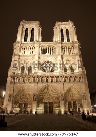 Stock Photo: Paris - Notre-Dame cathedral in the night