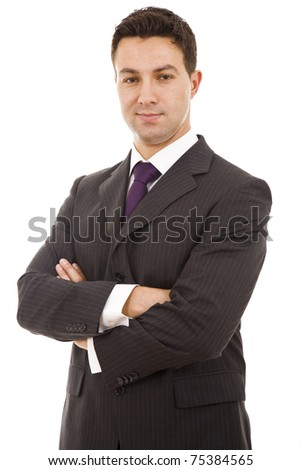 Stock Photo: Portrait of a business man isolated on white background - stock photo