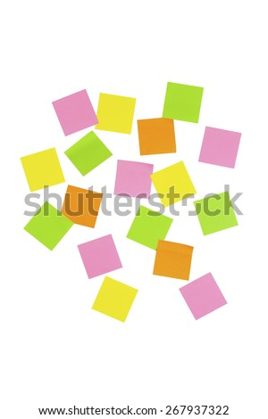 Stock picture of blank colored note it stickers, where you can write your own text, on a white background - stock photo