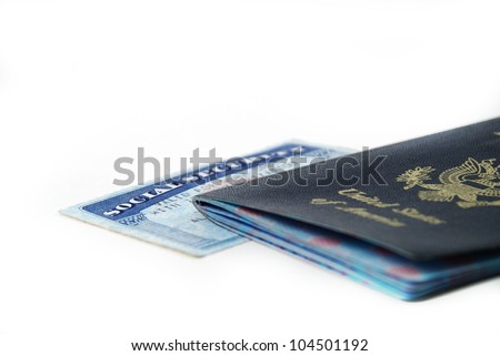 stock pictures of a social security card and a passport - stock photo