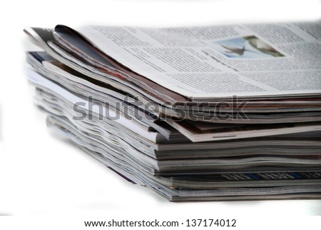 stock pictures of a stack of newspapers or magazines - stock photo