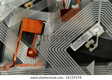 stock pictures of different types of tags for RFID purposes - stock photo
