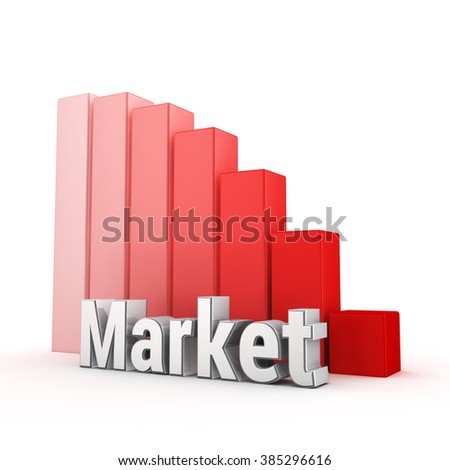 Stock prices go down, bear market. Word Market against the red falling graph. 3D illustration pic - stock photo