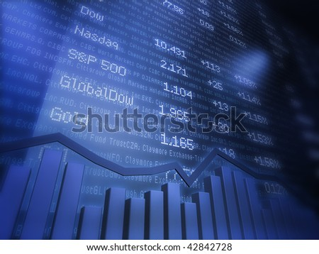 Stock Quotes on Data Background - stock photo