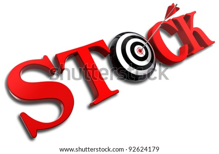 stock red word and conceptual target with arrow on white background