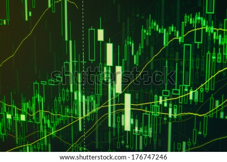 Stock trade on online market forex. Green proffessional manager trader data. - stock photo