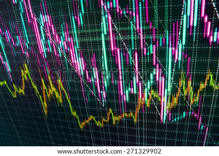 Stock trading chart on monitor screen. Finance background. Black orange blue color. - stock photo