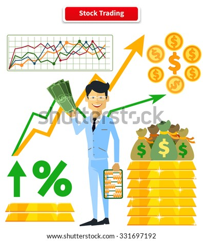 Stock trading concept flat style. Job and market, leadership human, employment and achievement business, diagram and wealth, finance and dollar, trader and report marketing analyzing. Raster version - stock photo