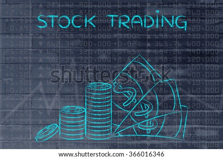 stock trading: stack of coins and cash on top of financial market data