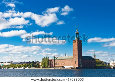 Stockholm city hall and blue sky in summer - stock photo