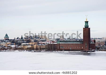 Stockholm city hall in winter, Sweeden - stock photo
