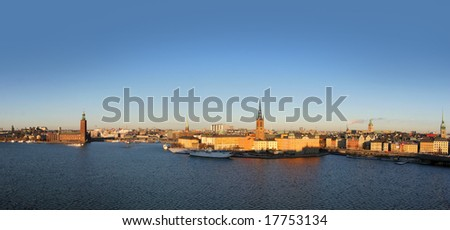 Stockholm City Panorama - Riddarholm Cathedral and City Hall
