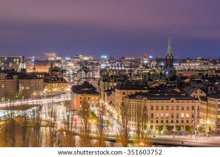 Stockholm City Skyline Aerial View Panorama Cityscape at Night in Summer Light Trails and Blue Cloud, Sweden