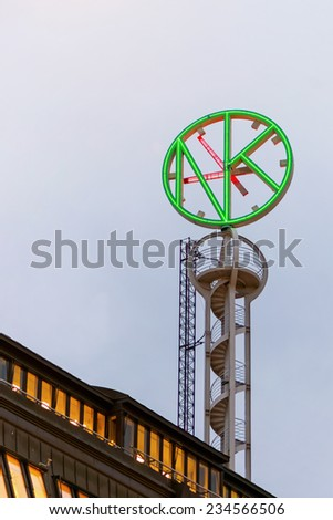 STOCKHOLM - 1 DEC: The iconic backside of the clock on top of the NK luxury store in Stockolm 1 December 2014, Sweden.