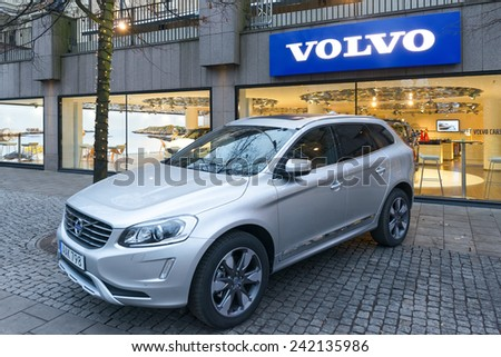 STOCKHOLM, DEC 5: Volvo XC90 car on display outside a official Volvo exhibition hall in Kungstradgarden, Stockholm, Sweden in December 5, 2014. - stock photo
