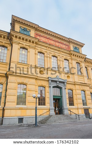 STOCKHOLM, FEBRUARY 04: The Royal library in the centre of Stockholm, on February 04, 2014, Stockholm, Sweden. The Library moved into its current building in Humlegarden in December/January 1877/1878. - stock photo