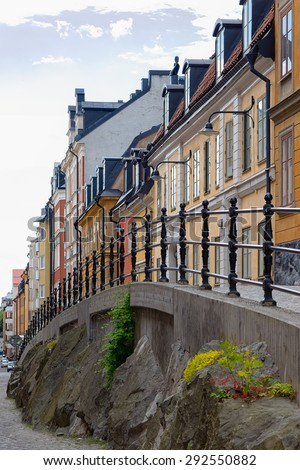 STOCKHOLM - JULY 01, 2015: View over Stockholm old town with the cobblestones at Sodermalm. Brannkyrkagatan in Stockholm - stock photo