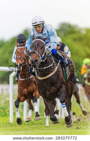 STOCKHOLM - JUNE 6: Jockey and horse leading during action filled horserace at the Nationaldags Galoppen at Gardet. June 6, 2015 in Stockholm, Sweden. - stock photo