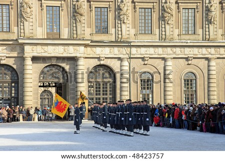 STOCKHOLM - MARCH 7: Changing of the Guard ceremony - daily ceremony in front of the Swedish Royal Palace, March 7, 2010 in Stockholm, Sweden.