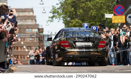 STOCKHOLM - MAY 24 2015 A C63 Black Series at the start of the 2015 Gumball 3000 Rally from Stockholm to Vegas. The Gumball is a popular car rally costing roughly £40k for the week.