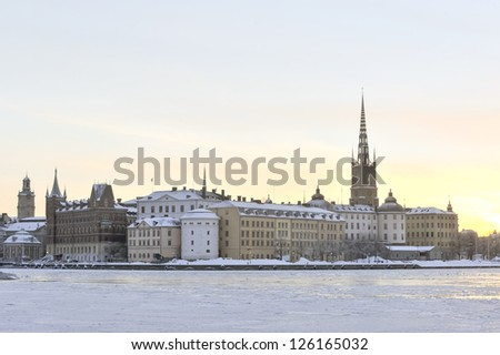 Stockholm Old Town on a sunny winter morning