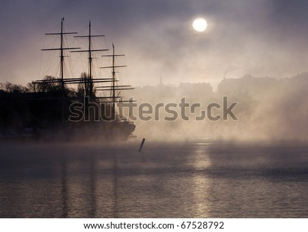 Stockholm on a foggy winters morning