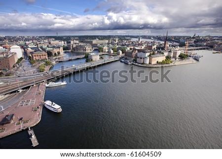 Stockholm Panorama Gamla Stan - stock photo