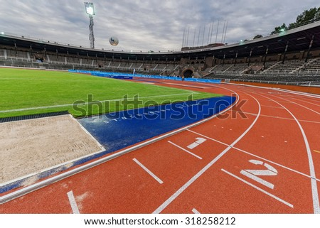 STOCKHOLM - SEP 16, 2015: General view of the Stockholm Olympic Stadium before the event 5K EASD Run walk. 5000 meters for diabetes awareness. - stock photo
