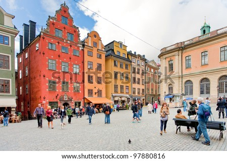 STOCKHOLM - SEPTEMBER 8: oldest medieval Stortorget square in Stockholm, Sweden on September 8, 2011. Stockholm started to be erected around thiis historical central square from 1400 years. - stock photo