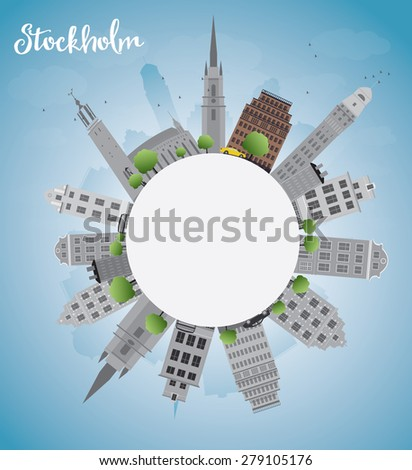 Stockholm Skyline with Grey Buildings and Blue Sky with copy space. Business travel and tourism concept with place for text. Image for presentation, banner, placard and web site.