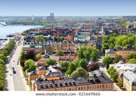 Stockholm, Sweden. Aerial view of Kungsholmen district.