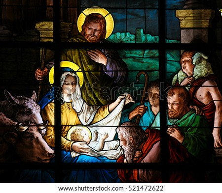 STOCKHOLM, SWEDEN - APRIL 16, 2010: Nativity Scene at Christmas. Stained glass window in the German Church in Gamla Stan in Stockholm.