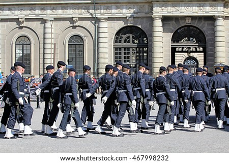 STOCKHOLM, SWEDEN - APRIL 14, 2013: Swedish Royal Guard on parade on Palace Square