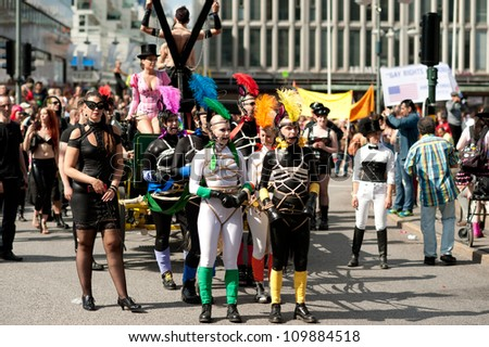 STOCKHOLM, SWEDEN - AUGUST 4: Sadomasochists at Stockholm Pride Parade on August 4, 2012 in Stockholm which attracts an estimated 50000 participants and 500000 spectators.
