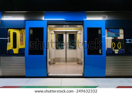 STOCKHOLM, SWEDEN - CIRCA OCTOBER 2010: the Metro train with the opened doors. - stock photo