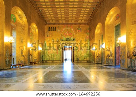 STOCKHOLM, SWEDEN - DECEMBER 23: Interior of Golden Hall of the Stockholm City on December 23, 2012 in Stockholm, Sweden. The Golden Hall is the venue for the dance after the Nobel Prize banquet.