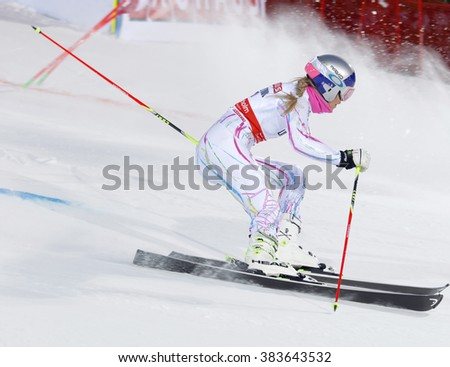 STOCKHOLM, SWEDEN - FEB 23, 2016: Lindsey Vonn (USA) skiing at the FIS Alpine Ski World Cup - Men's and Woman's city event February 23, 2016, Stockholm, Sweden - stock photo
