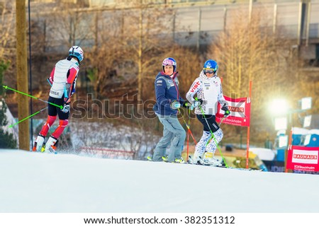STOCKHOLM, SWEDEN - FEB 23, 2016: Lindsey Vonn (USA) with some other racers inspecting the course before FIS SKI WORLD CUP at Hammarbybacken in Stockholm