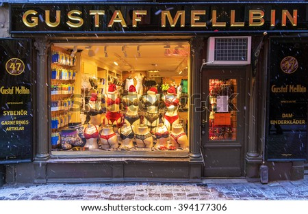 STOCKHOLM, SWEDEN - JANUARY 4: a show-window of Shop on sale of the Gustaf Mellbin underwear on the small street of the city of Stockholm on January 4, 2016