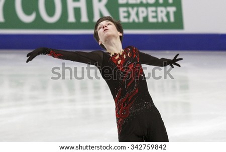 STOCKHOLM, SWEDEN - JANUARY 30, 2015: Adian PITKEEV of Russian performs during men's free skating event at ISU European Figure Skating Championship in Globen Arena. - stock photo