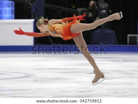 STOCKHOLM, SWEDEN - JANUARY 30, 2015: Anna POGORILAYA of Russia performs during ladies free skating event at ISU European Figure Skating Championship in Globen Arena. - stock photo