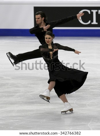 STOCKHOLM, SWEDEN - JANUARY 28, 2015: Laurence FOURNIER BEAUDRY / Nikolaj SORENSEN of Denmark perform short dance at ISU European Figure Skating Championship in Globen Arena.