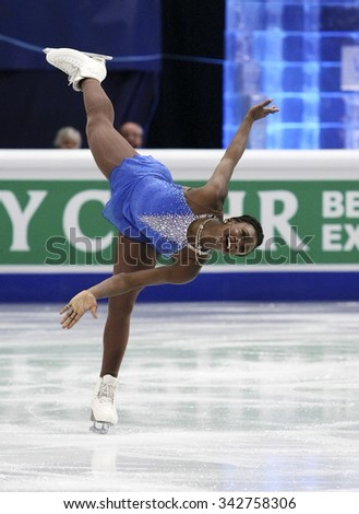 STOCKHOLM, SWEDEN - JANUARY 30, 2015: Mae Berenice MEITE of France performs during ladies free skating event at ISU European Figure Skating Championship in Globen Arena.