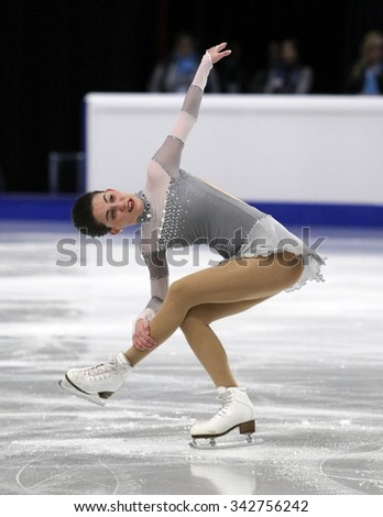 STOCKHOLM, SWEDEN - JANUARY 30, 2015: Sonia LAFUENTE of Spain performs during ladies free skating event at ISU European Figure Skating Championship in Globen Arena. - stock photo