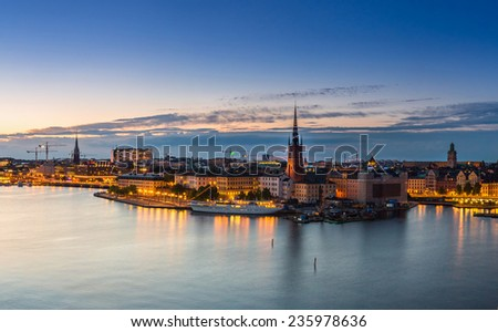 STOCKHOLM, SWEDEN - JULY 31: Night panoramic view. Gamla Stan, the old part of Stockholm, Sweden on July 31, 2014 - stock photo