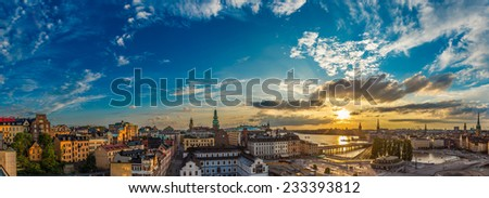 STOCKHOLM, SWEDEN - JULY 31: Night view of Gamla Stan, the old part of Stockholm, Sweden on July 31, 2014 - stock photo