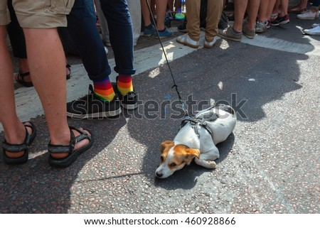 STOCKHOLM, SWEDEN - JULY 30, 2016: Pride parade in Stockholm and the parade going thru Stureplan.