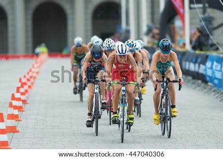 STOCKHOLM, SWEDEN - JULY 02, 2016: Sara Vilic (AUT) leading a group of cyclists at the Women ITU Triathlon event in Stockholm.